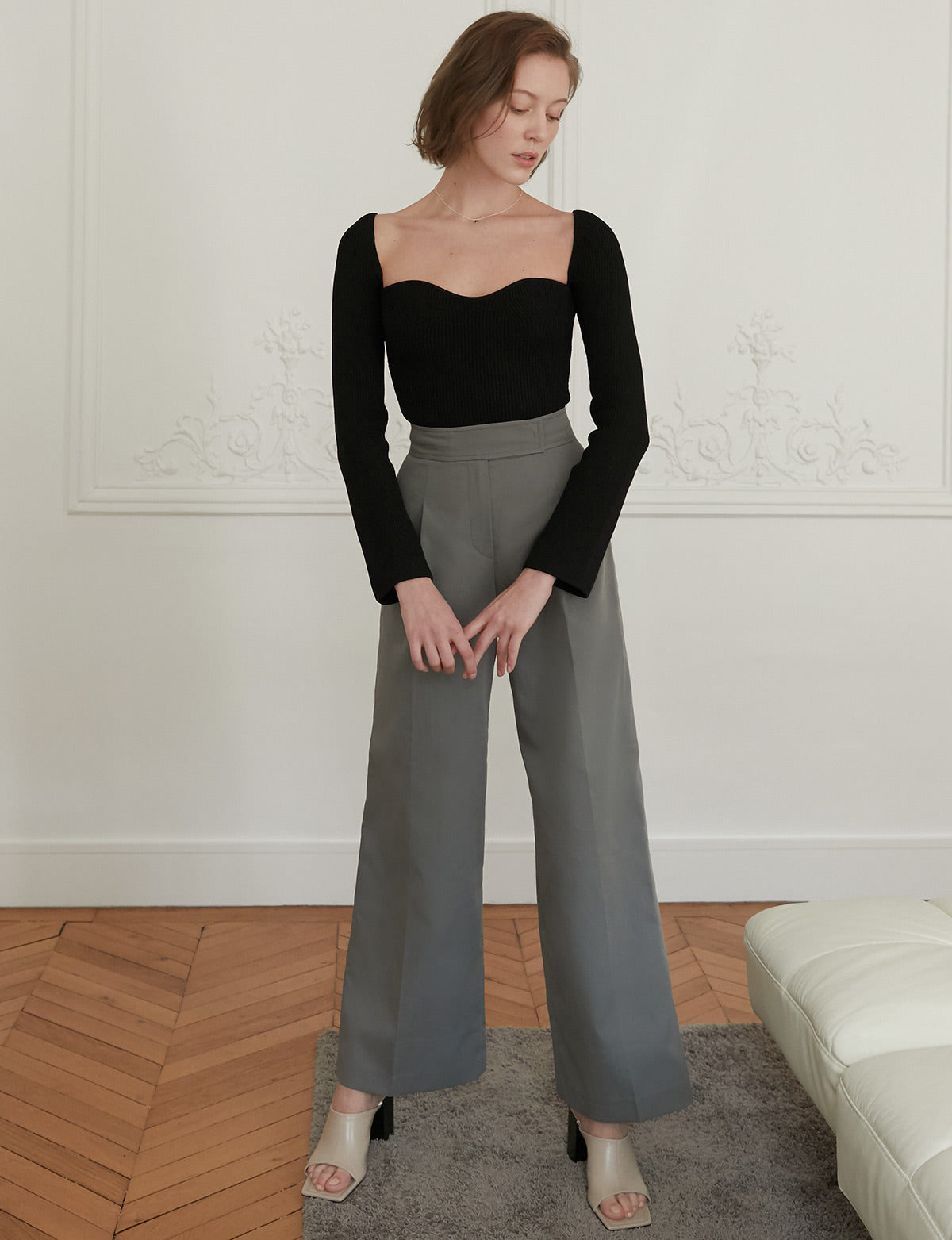 Wide Leg Sage Stone Trousers