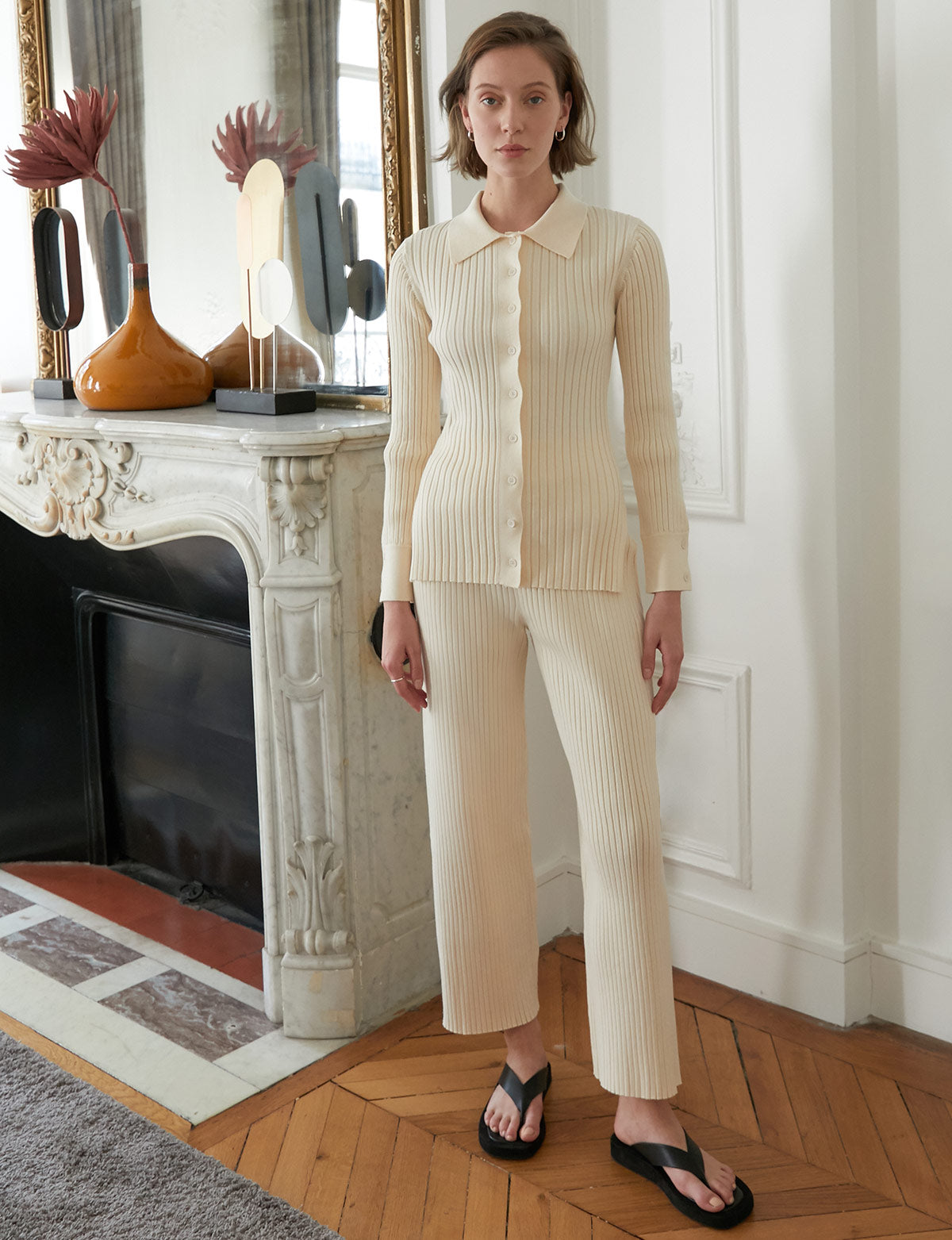 Knit Ribbed Wide-Leg Pants