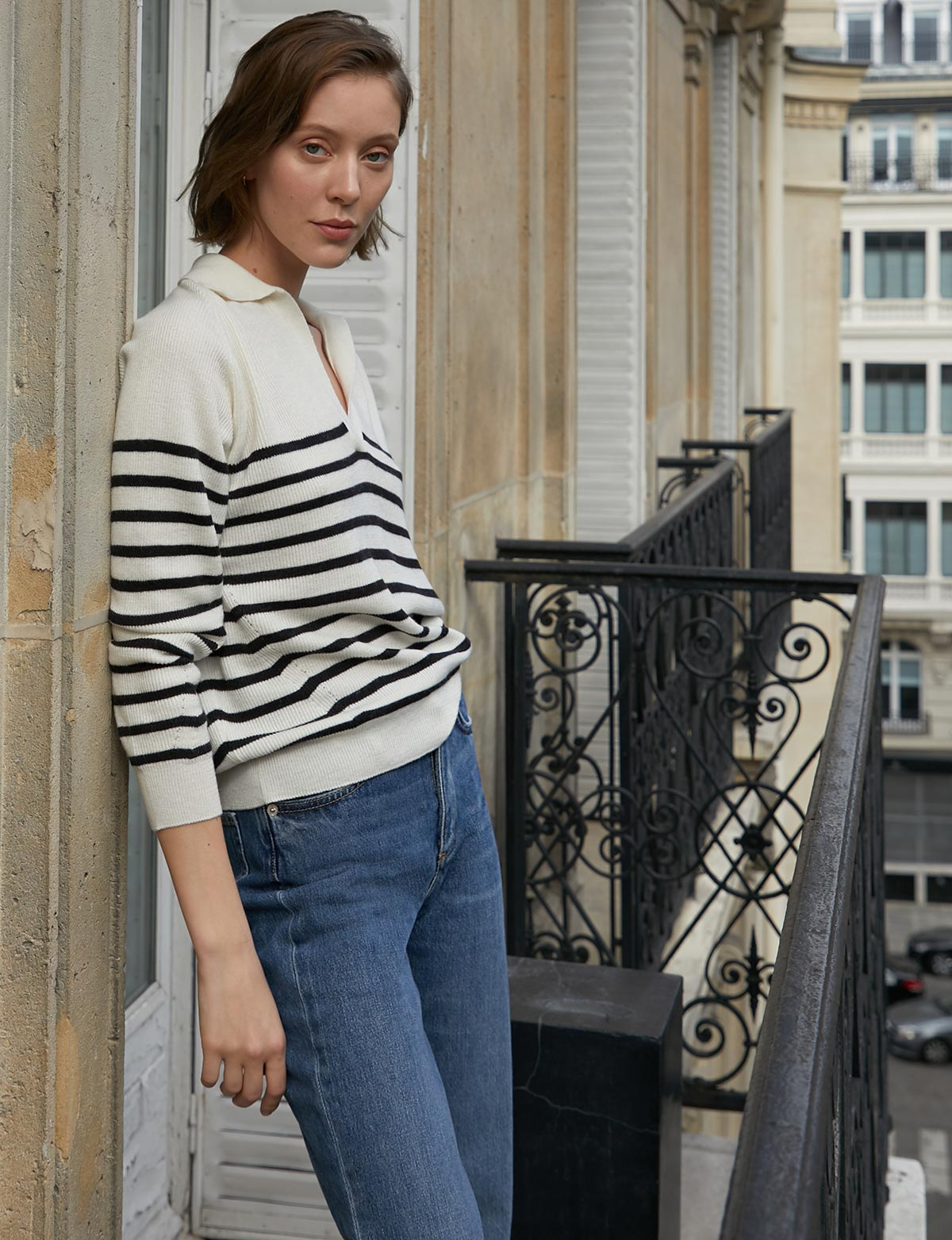 Stripe Polo Collar Sweater