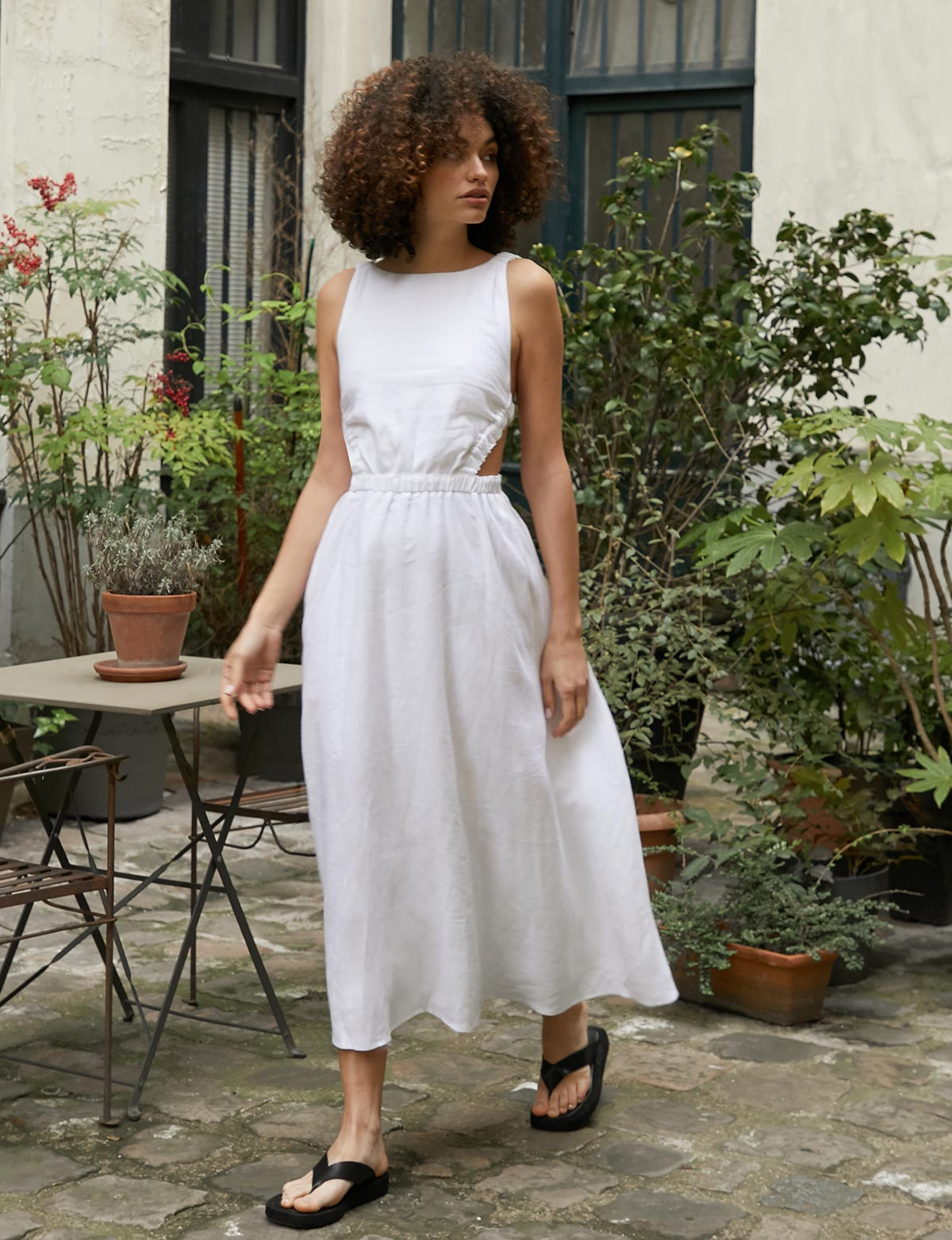 Beatrice Dress in White Linen