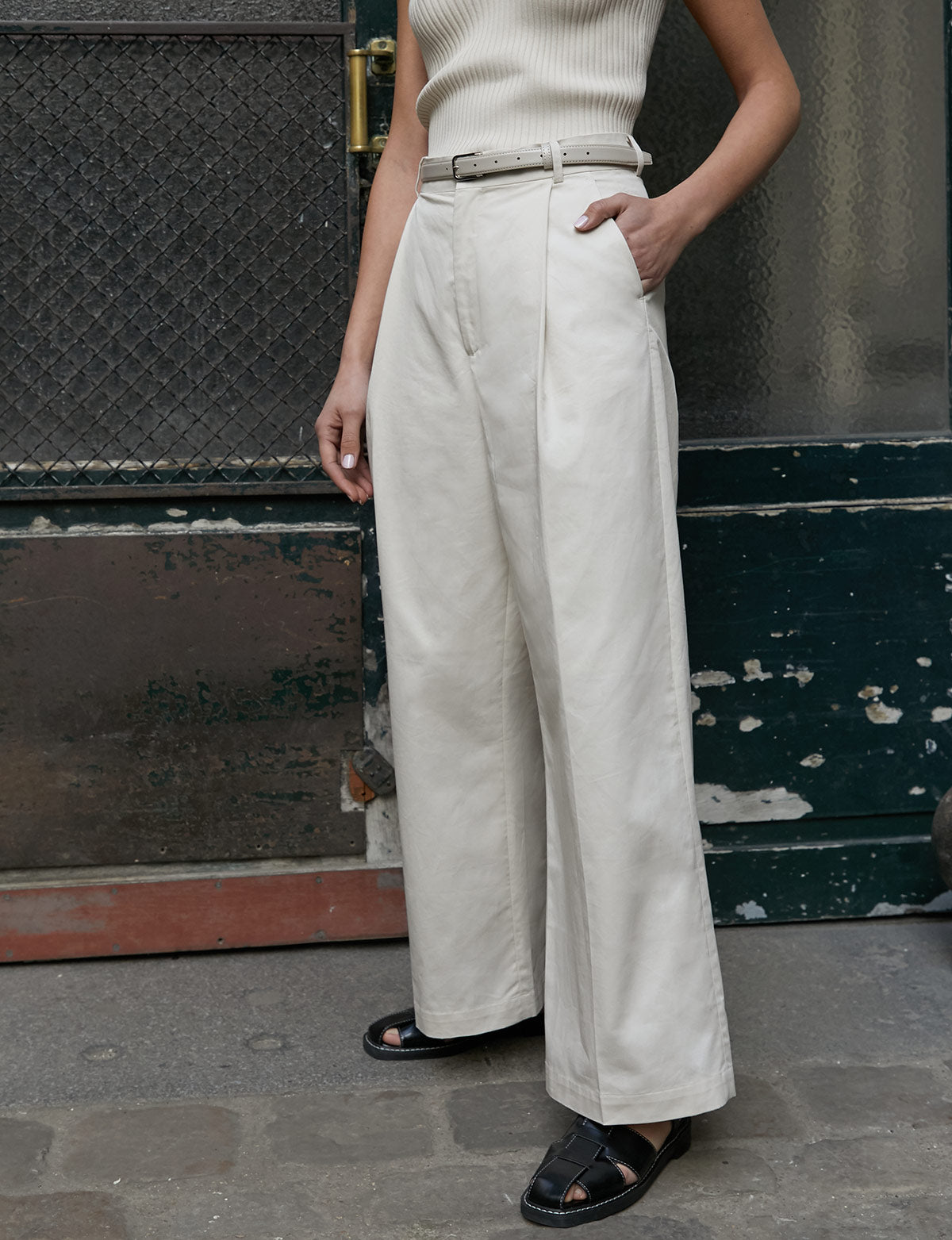 Beige Cotton Wide Leg Pants