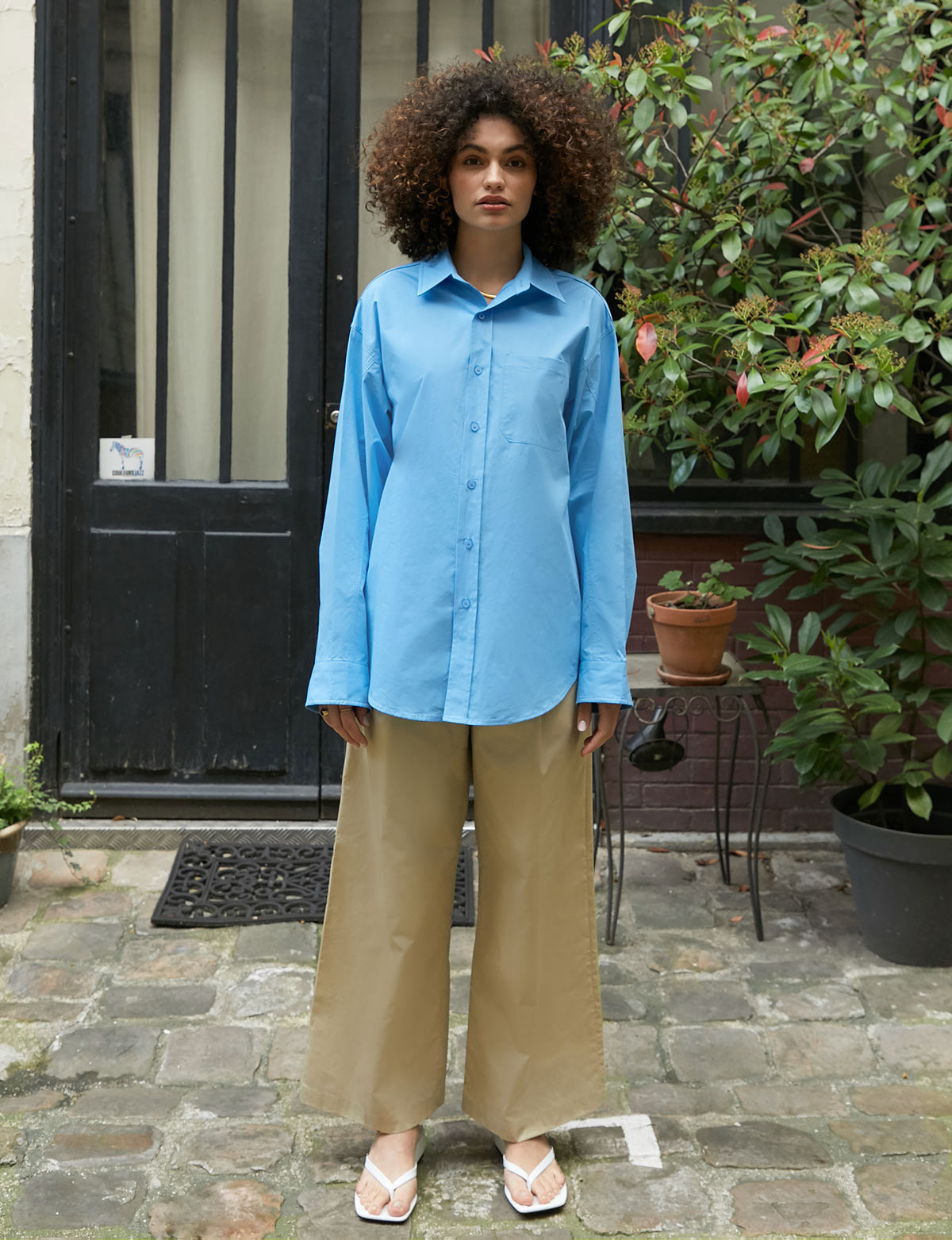 Oxford Blue Oversized Cotton Shirt