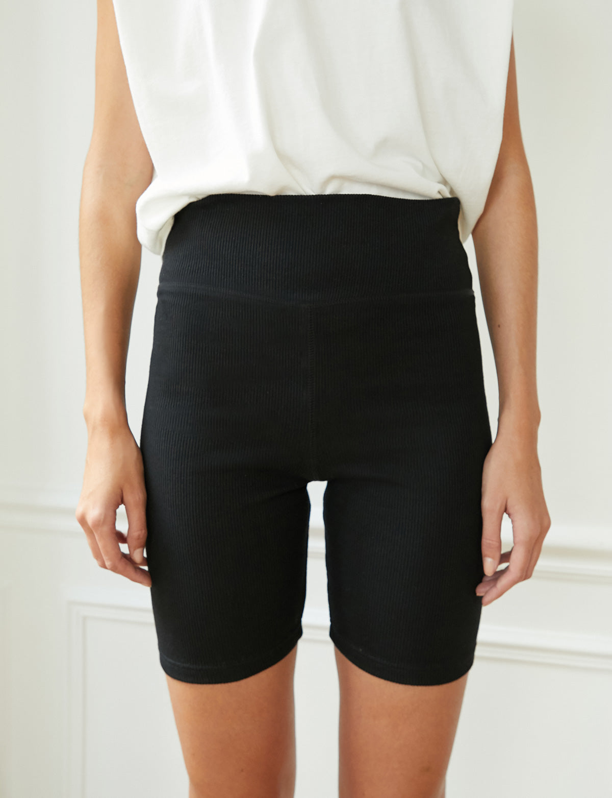 Black Ribbed Biker Shorts
