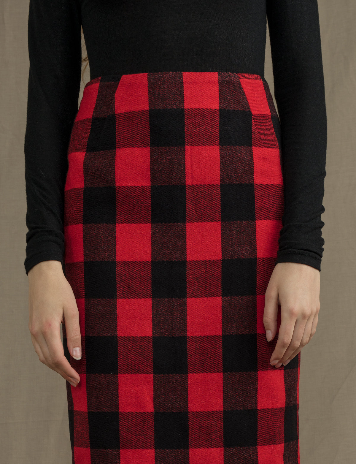 3334255da0 Red Plaid Pencil Skirt