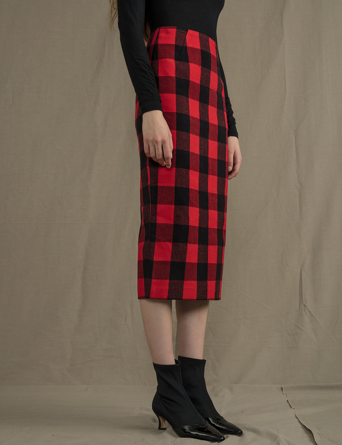 Red Check Midi Skirt