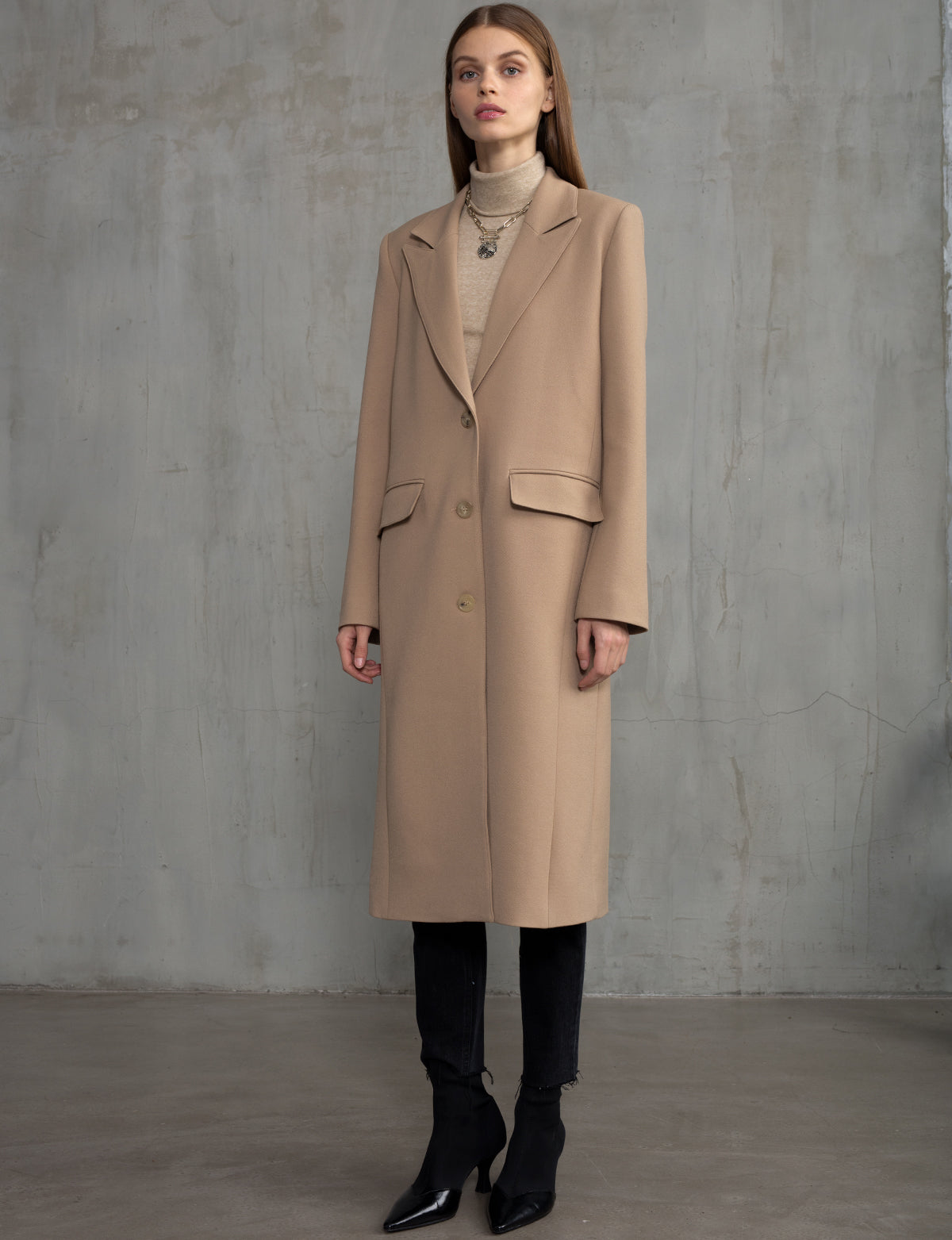 Tan Long Blazer Coat