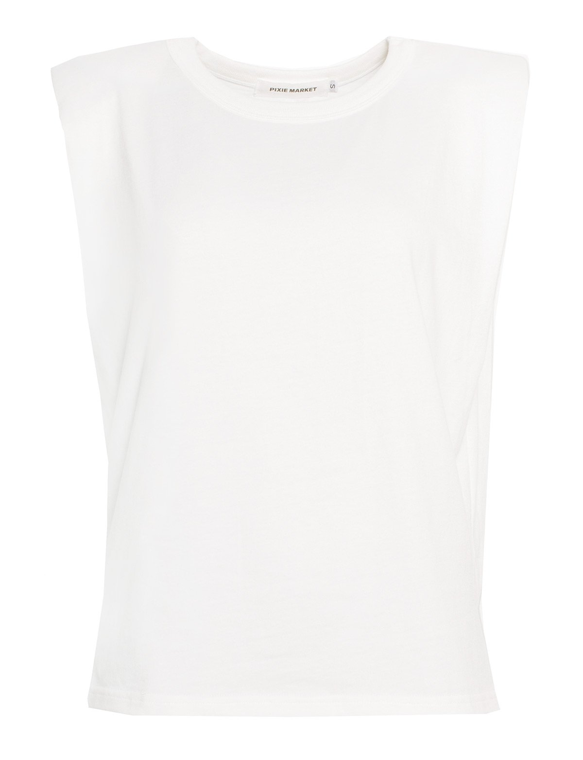 padded shoulder muscle tee white