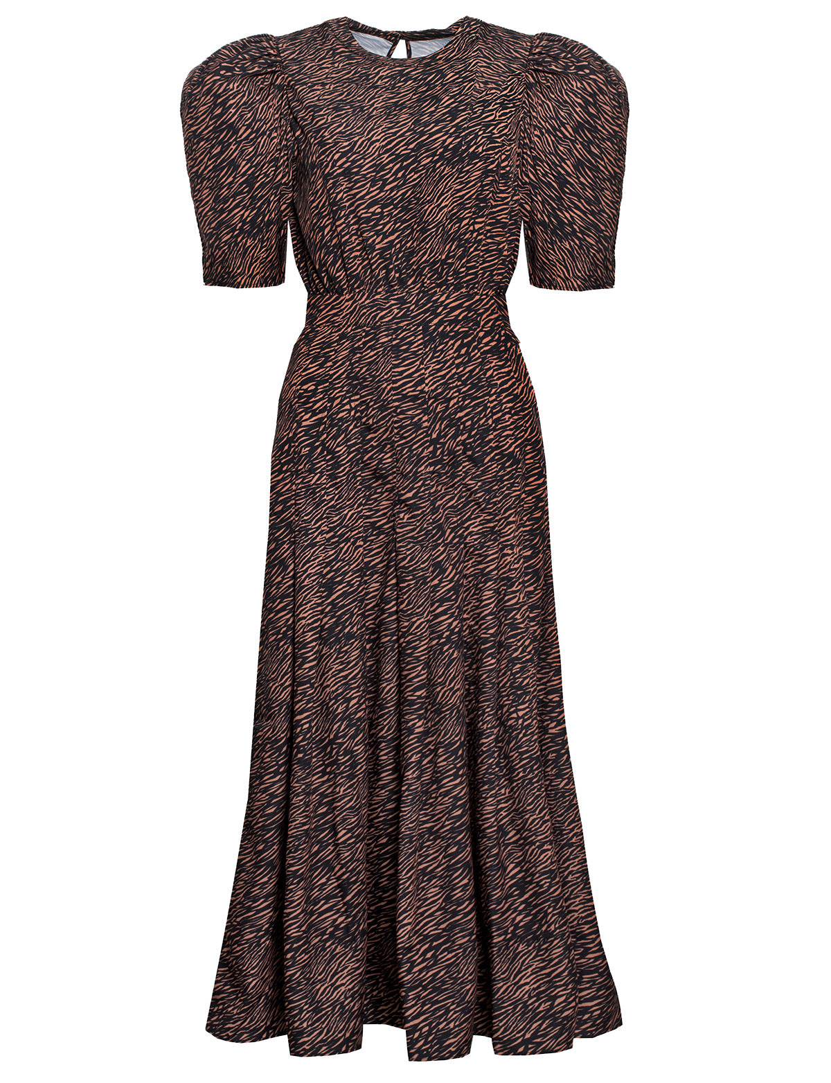 brown zebra print puff sleeve dress