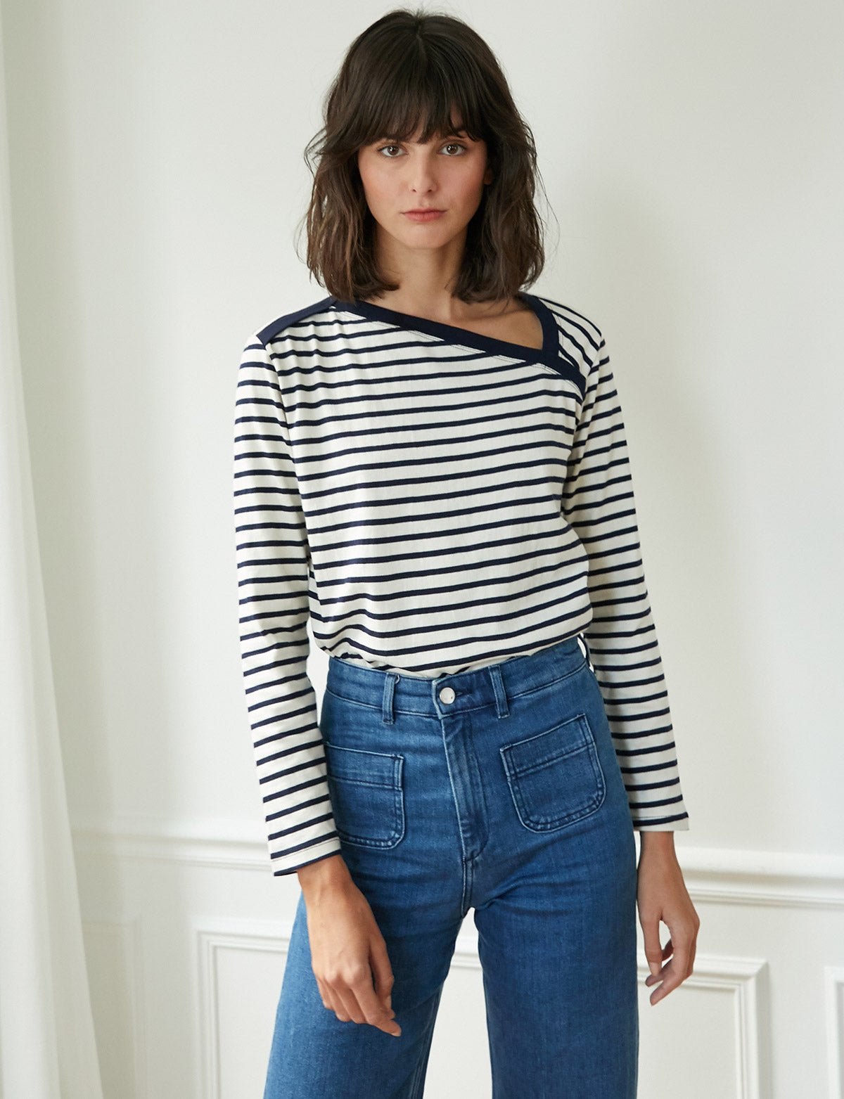 Asymmetric Navy Striped Tee