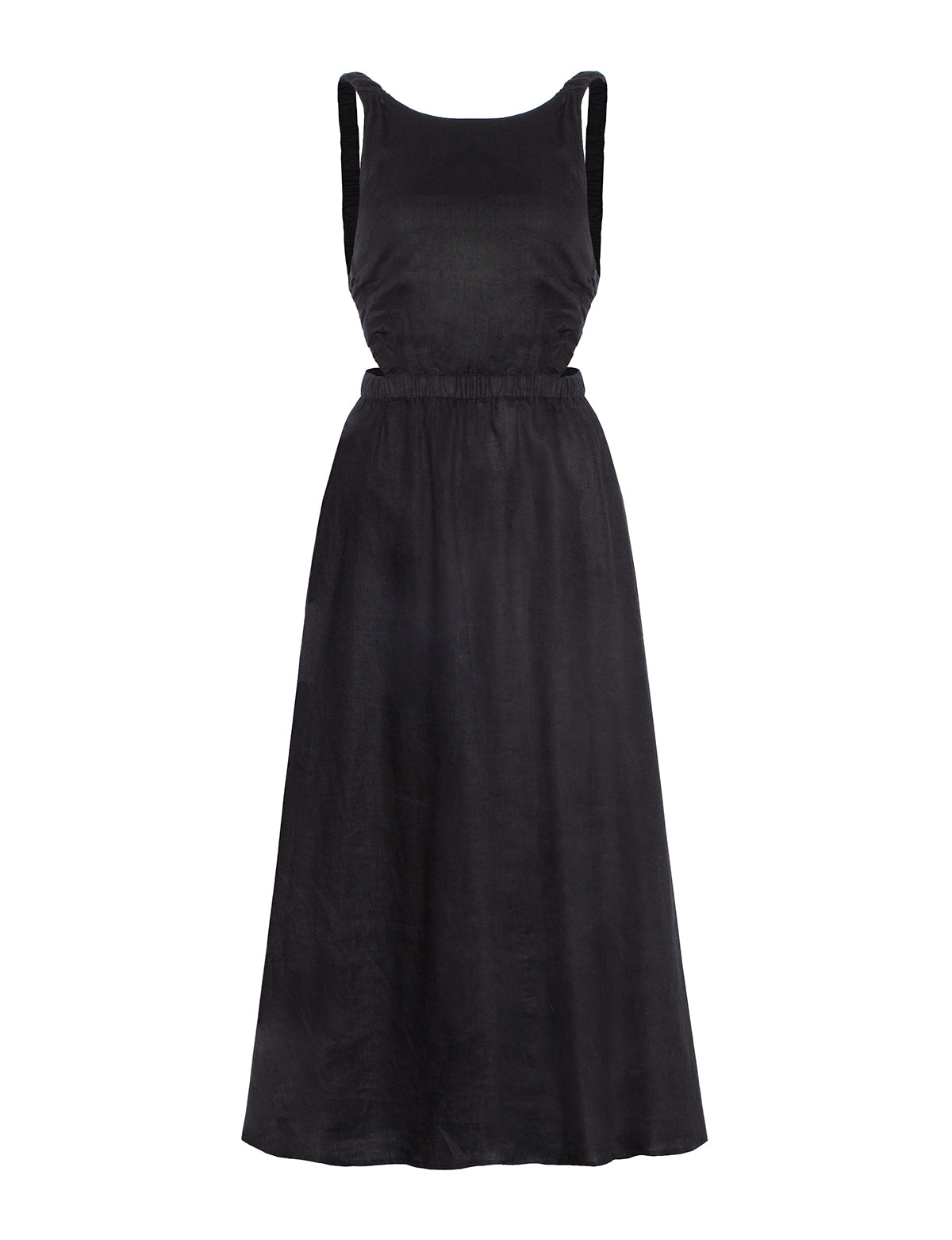 beatrice black linen dress