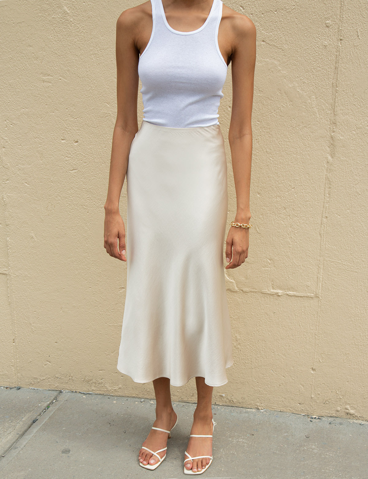 Rene Beige Satin Long Skirt