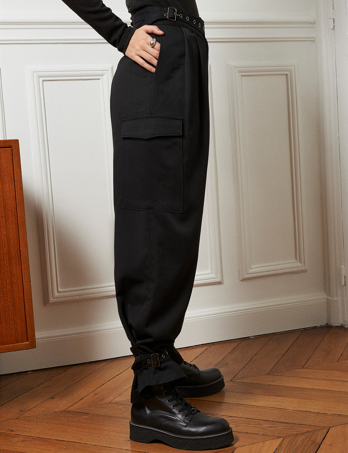 Black Belted Ankle Cuff Pants -Preorder