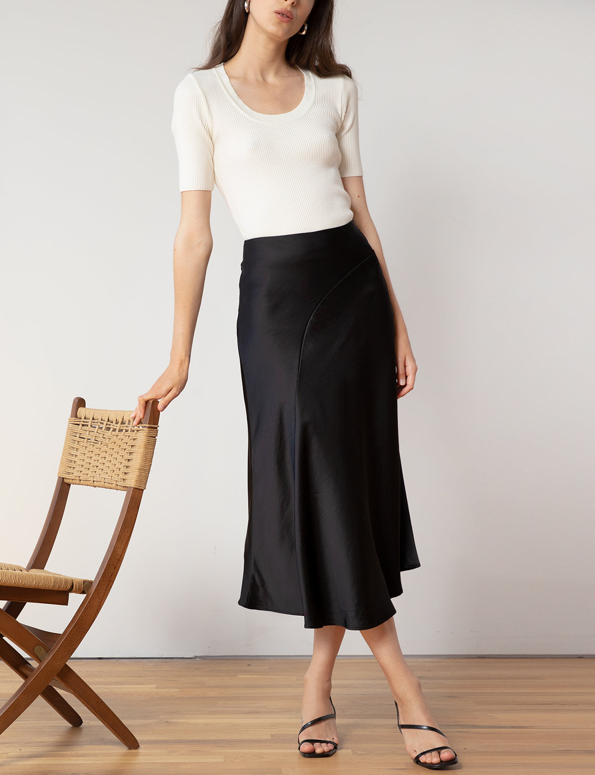 Black Silk Midi Skirt