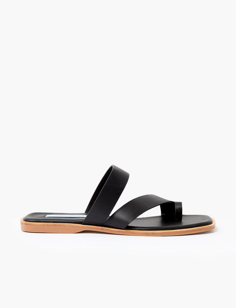 Black Toe Strap Sandals by Pixie Market