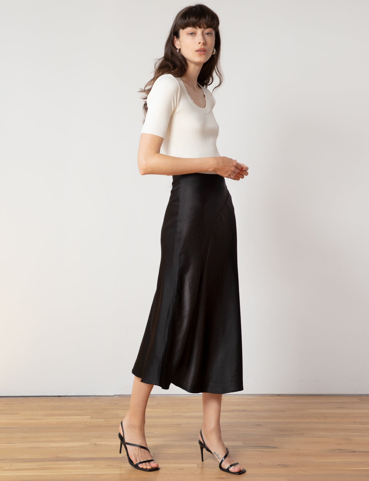 Black Satin Midi Skirt