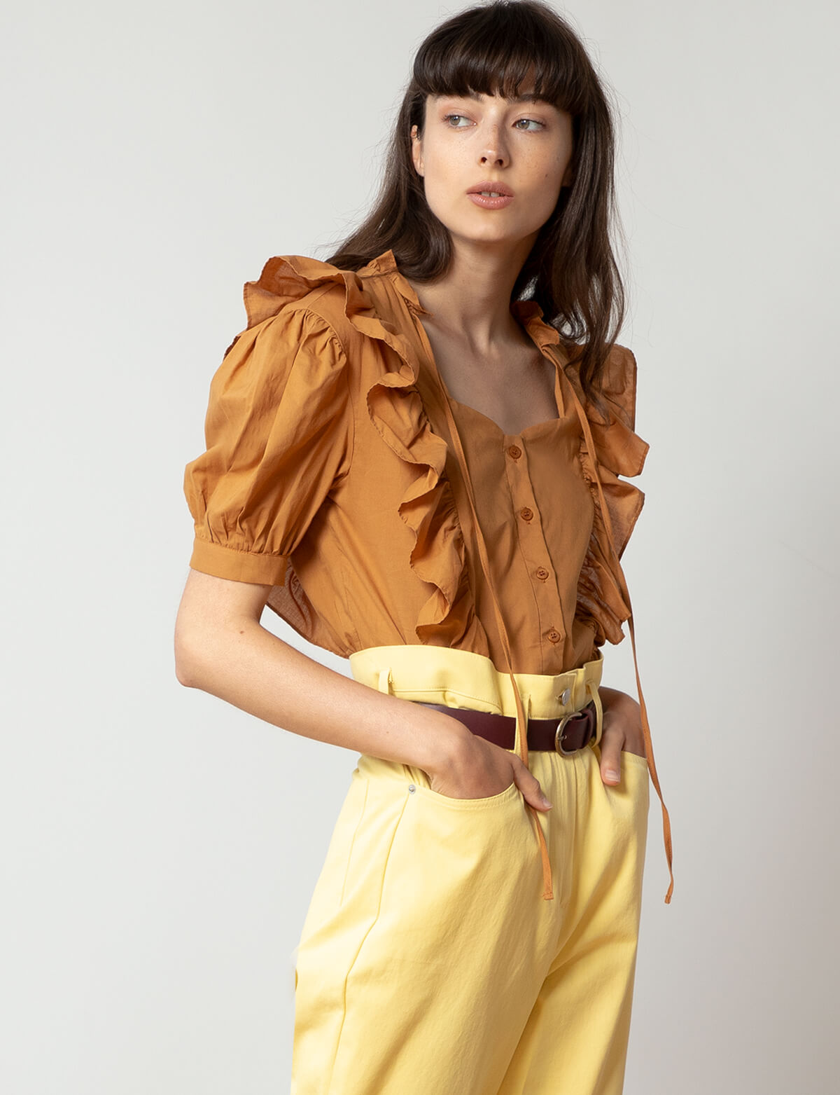 Burnt Orange Cute Ruffle Shirt