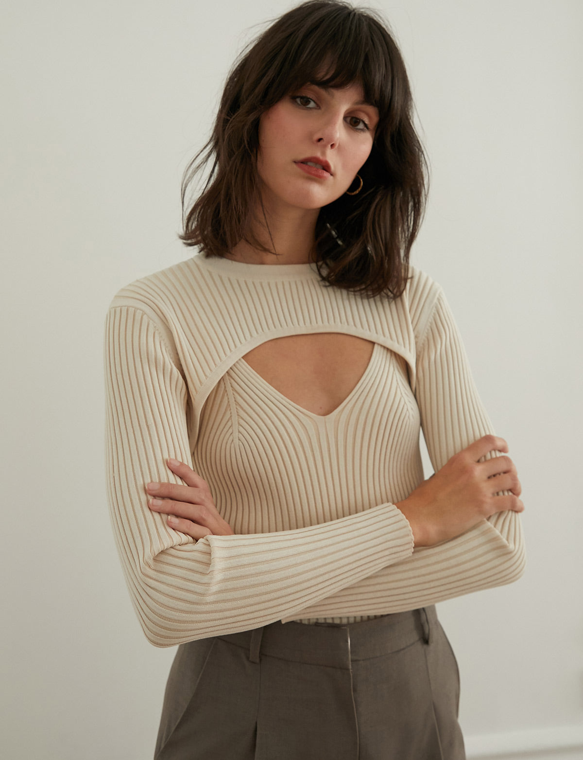 Ivory Knit Bolero and Tank Set