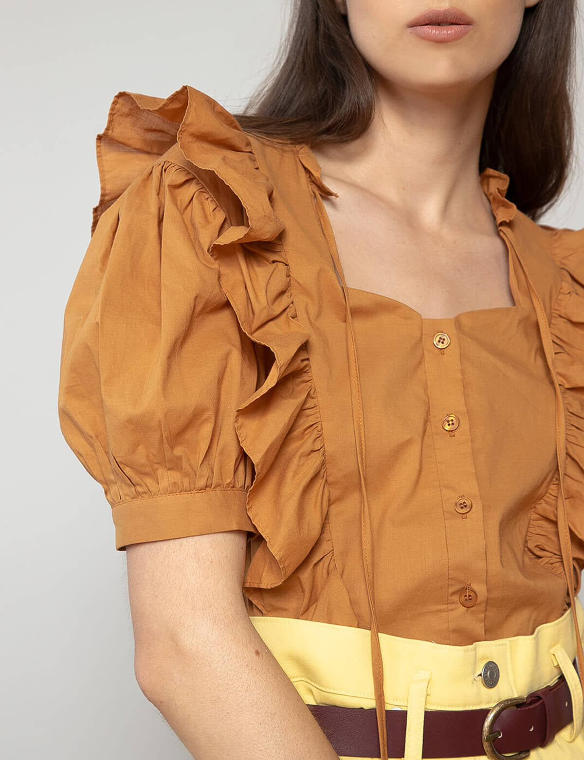 Sienna Brown Ruffle Top