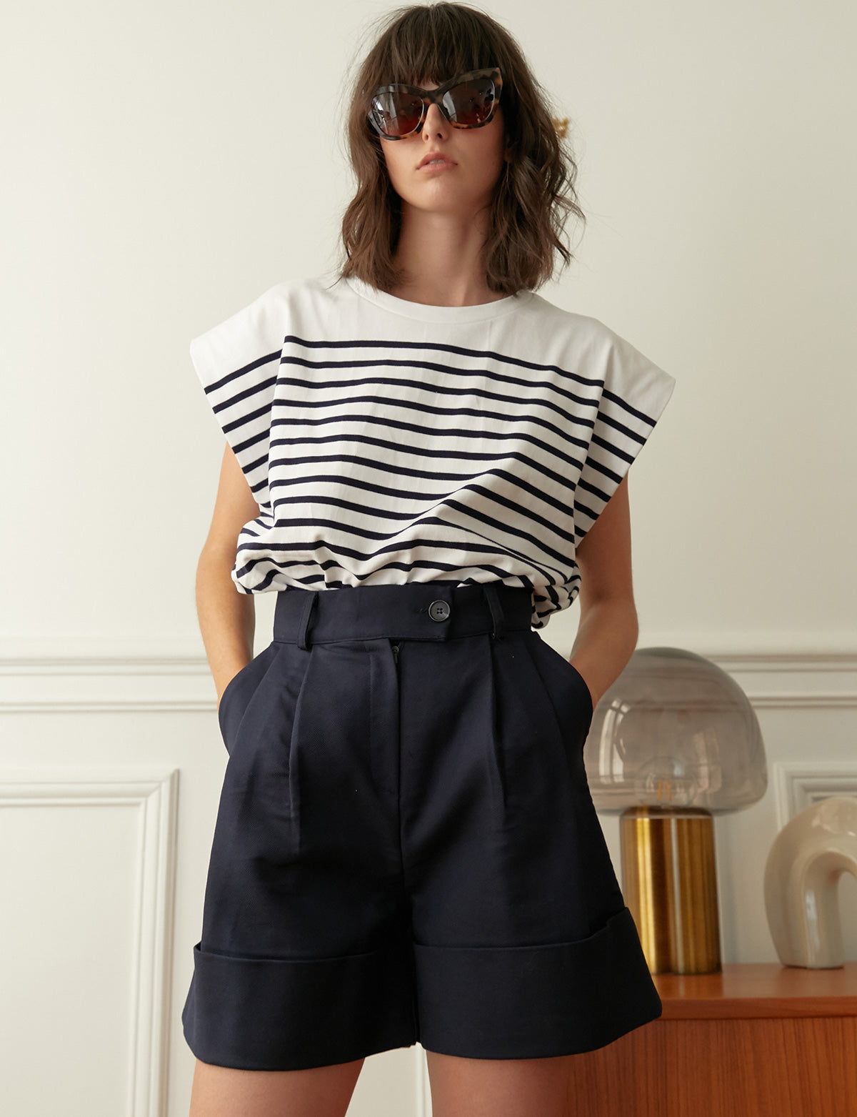 Navy High Waist Shorts