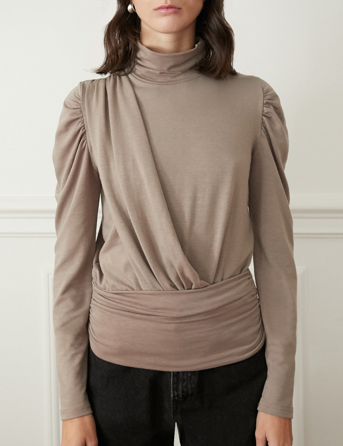 Taupe Puff Sleeve Knit Top