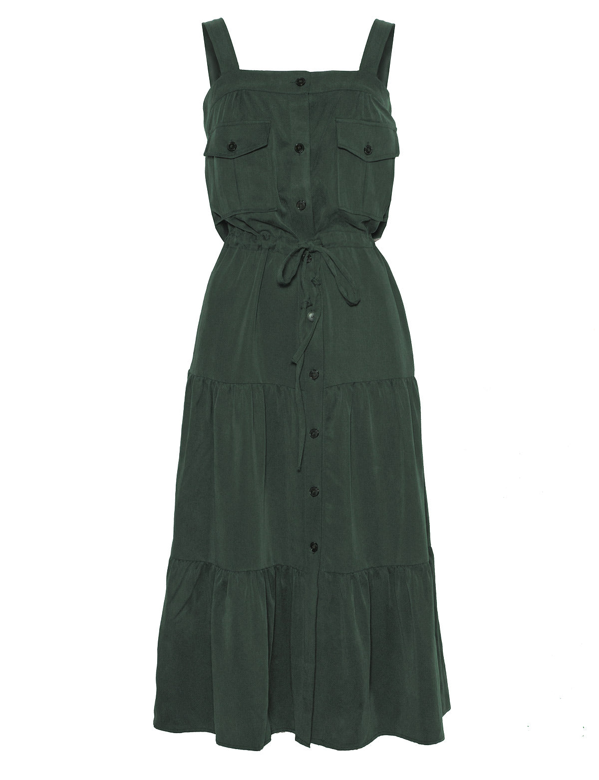 green tencel cargo midi dress