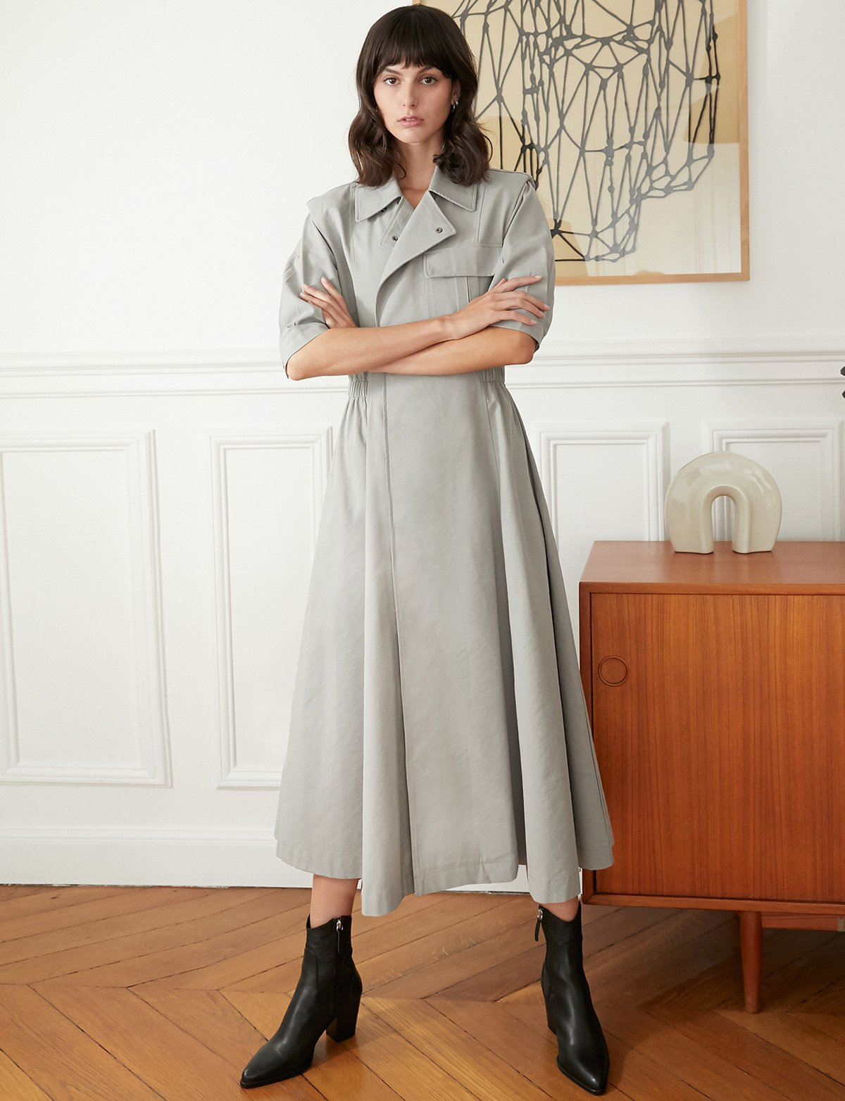 grey shoulder pad trench dress