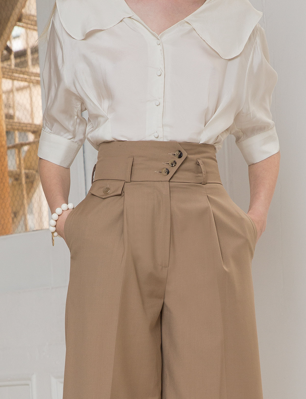 Tan High Waist Pants