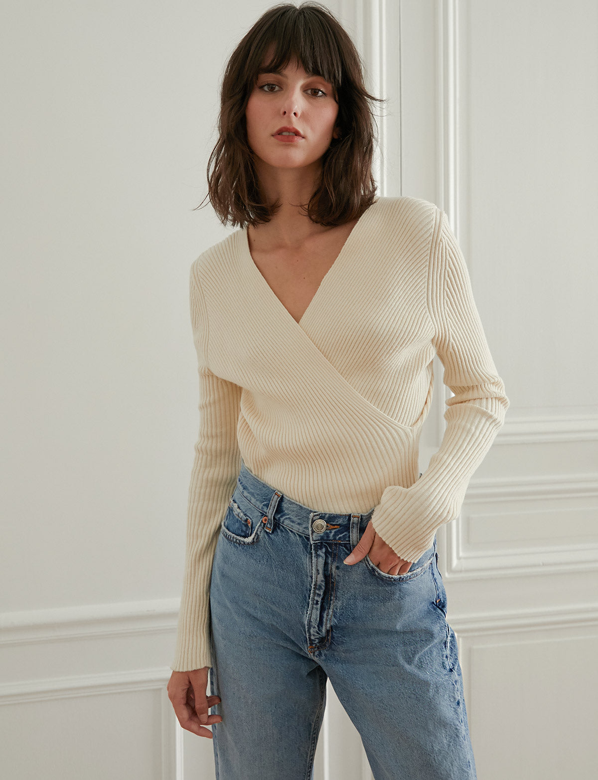 ivory wrap ribbed knit sweater