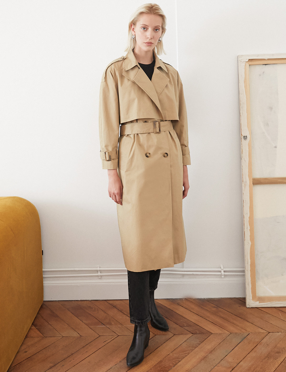 Neck Scarf Trench Coat