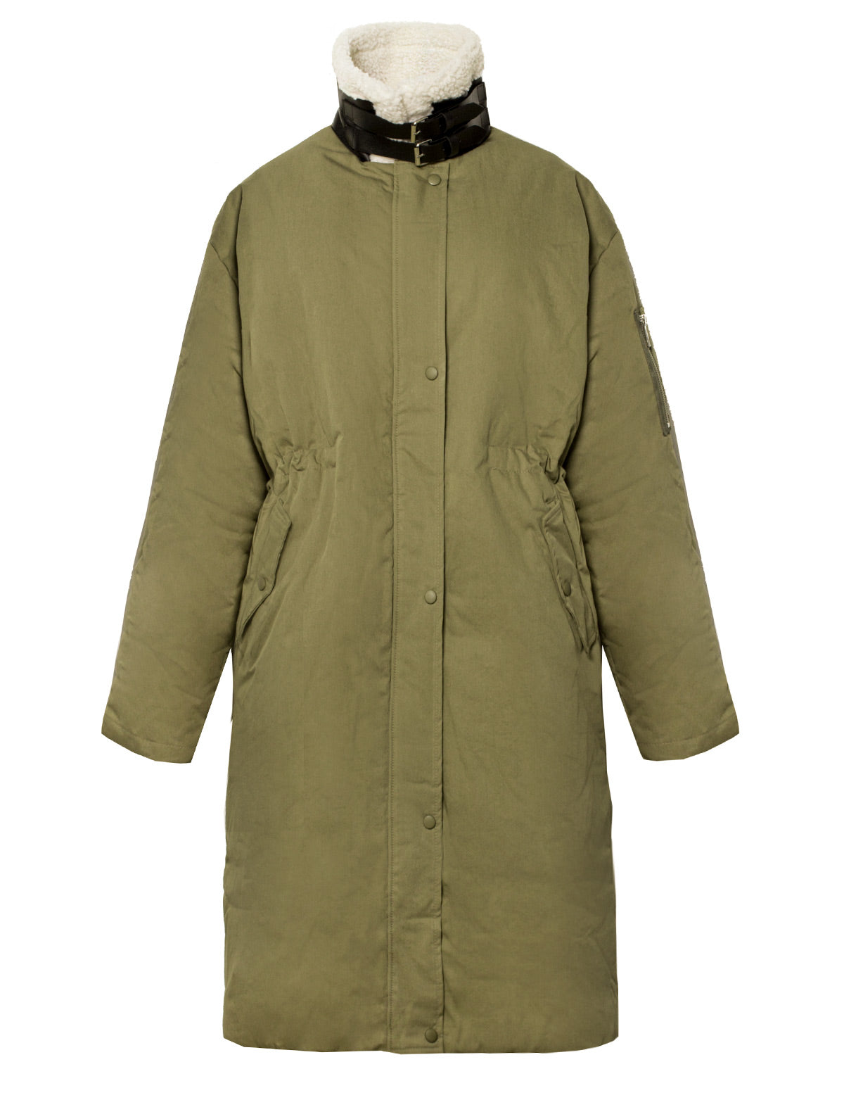 olive padded quilted coat