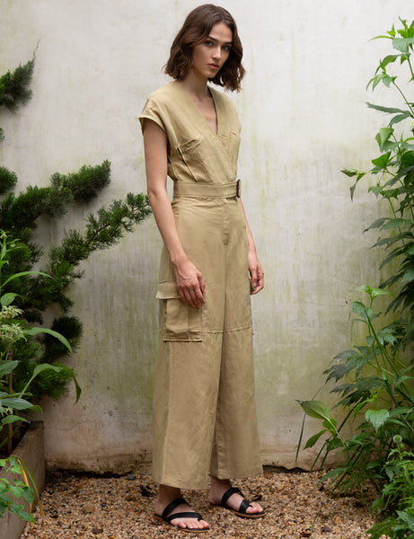 Olive Belted Jumpsuit by Pixie Market
