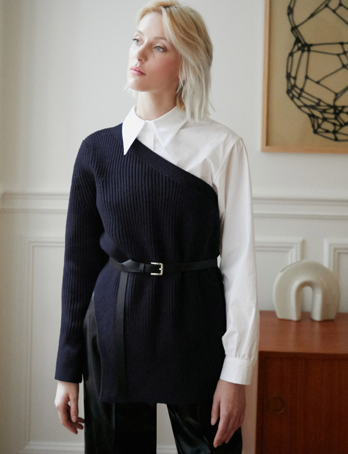 One Shoulder Navy Sweater
