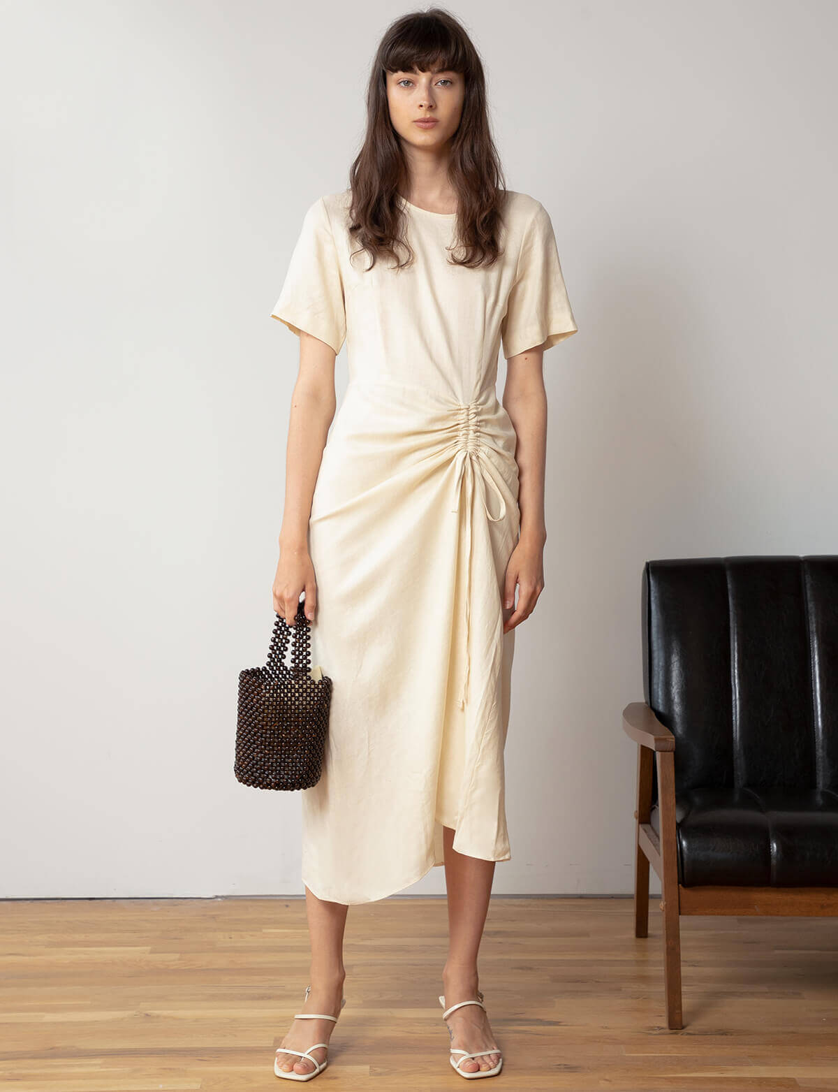 Vanilla Linen Ruched Dress
