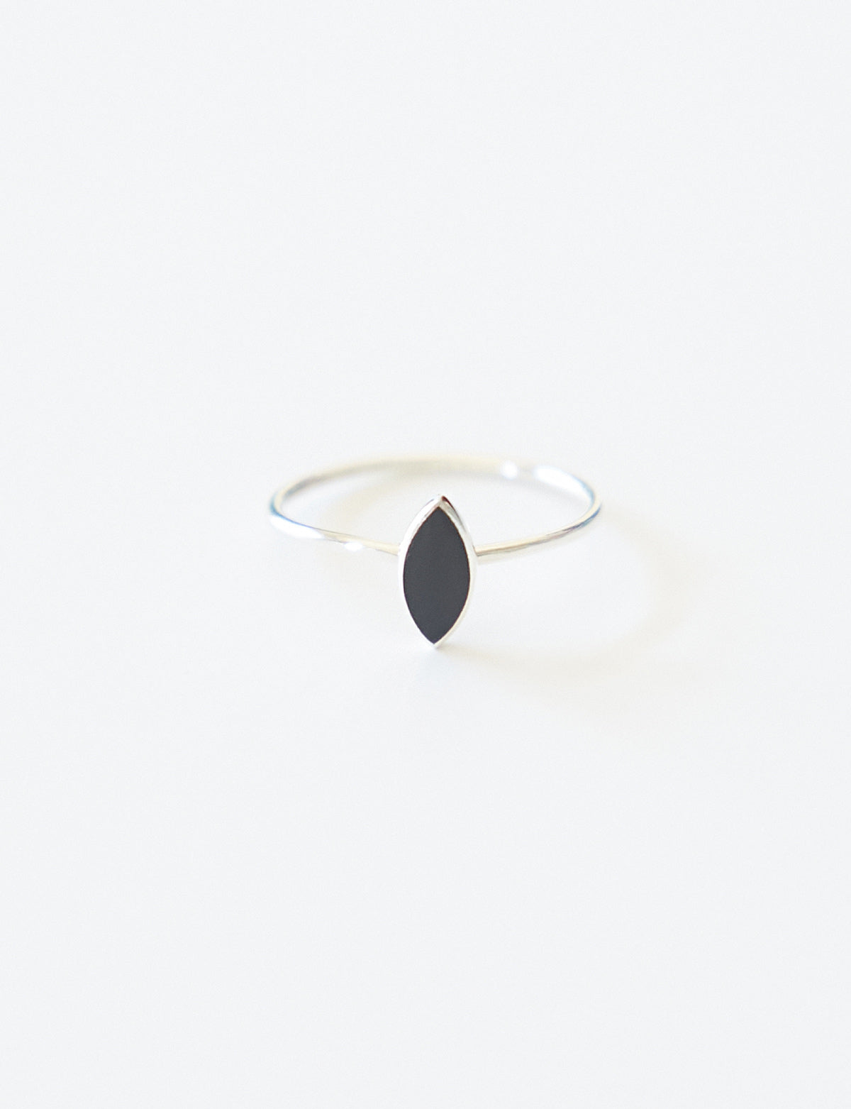Silver Onyx Marquise Ring
