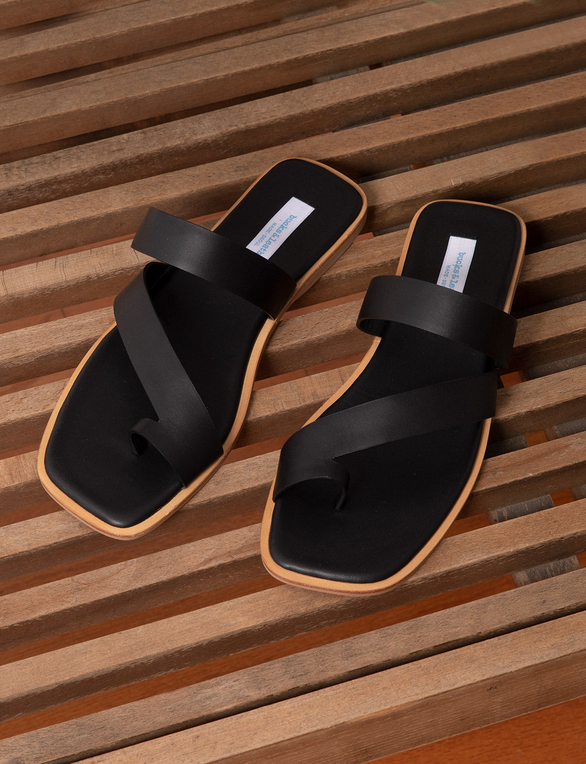 Square Shape Black Sandals