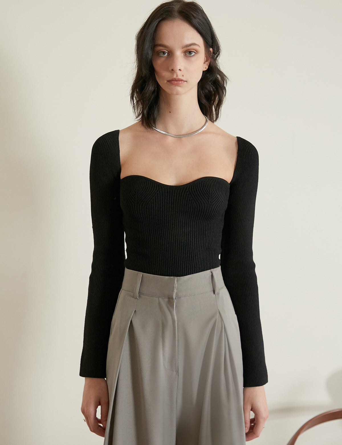 Chiara Knit Bustier Top in Black