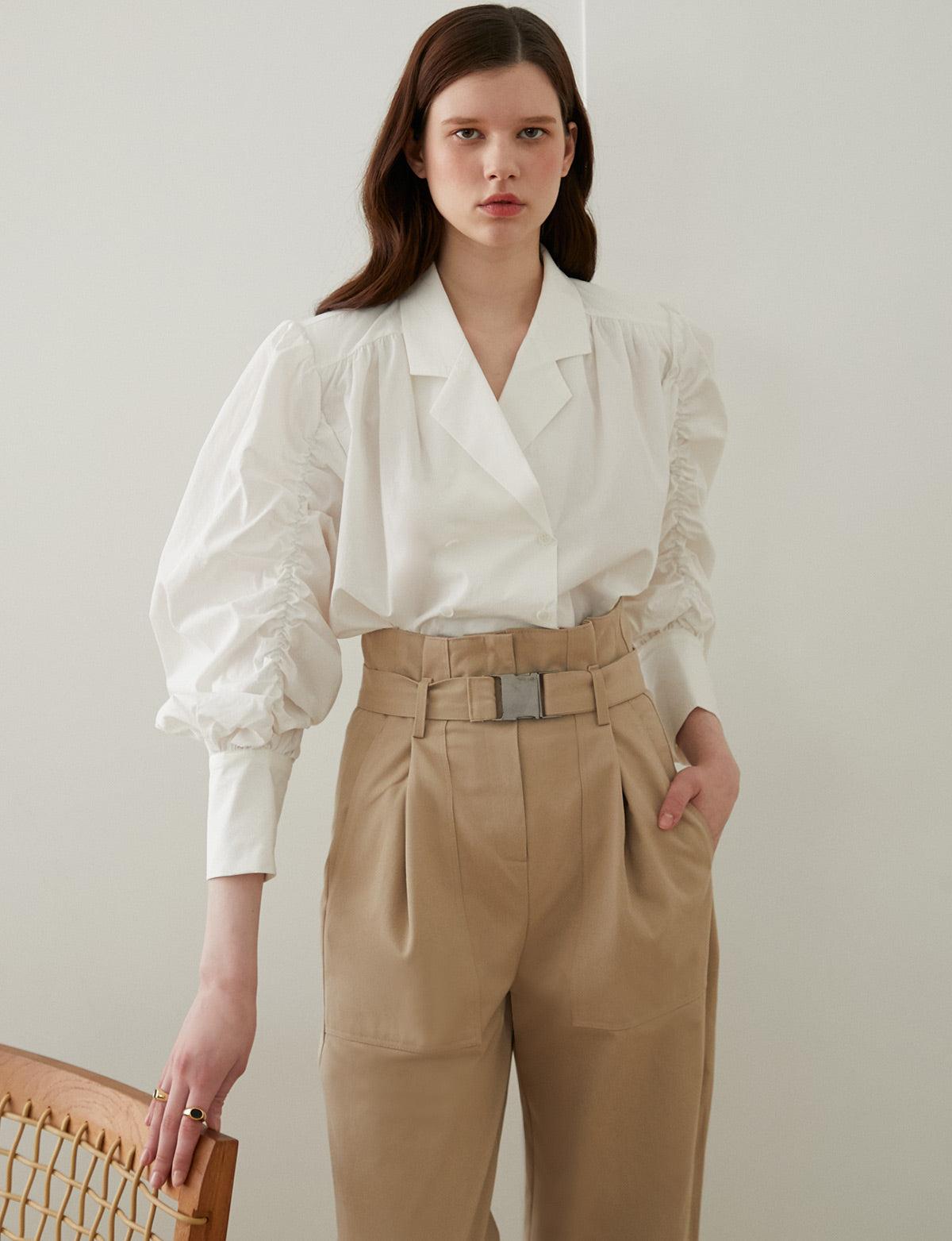 Tan Clip Belted Pants