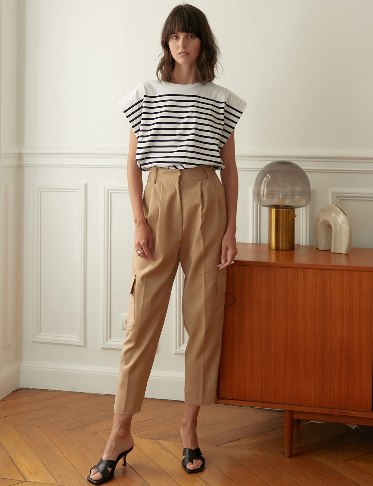 Tan Crop Cargo Pants