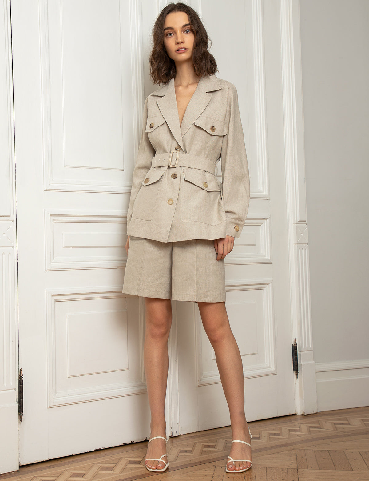 Tan Linen Belted Jacket