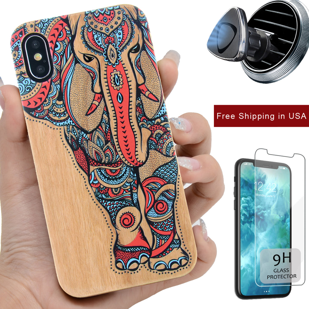 Color 3D Elephant Wood iPhone Case by iProdcuts US