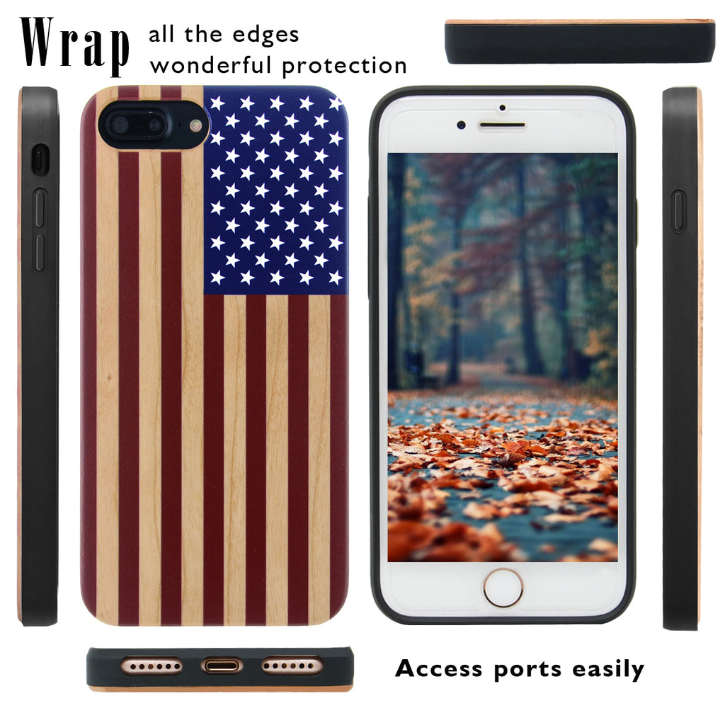 American Flag Wood Case by iProducts US