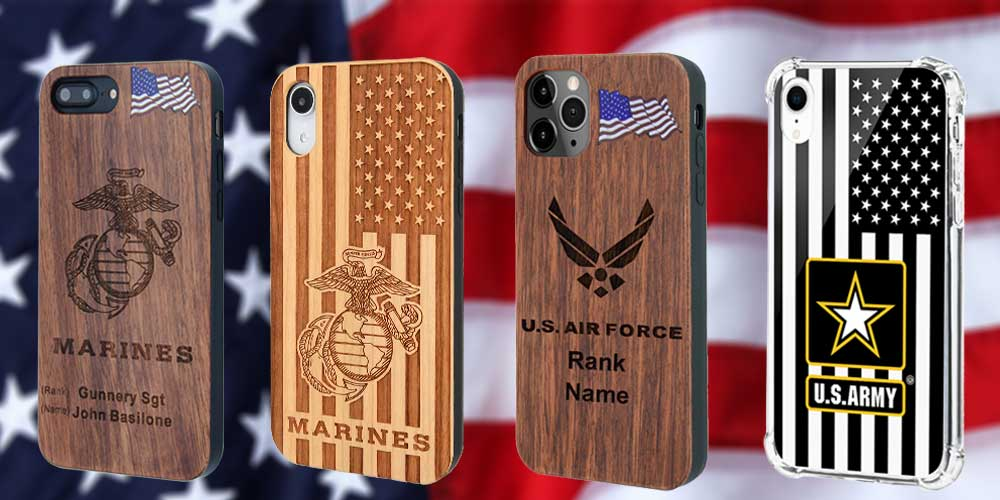 Customized military wood phone cases for Marines US Force, US Army with your name and rank for iPhone and Samsung Galaxy