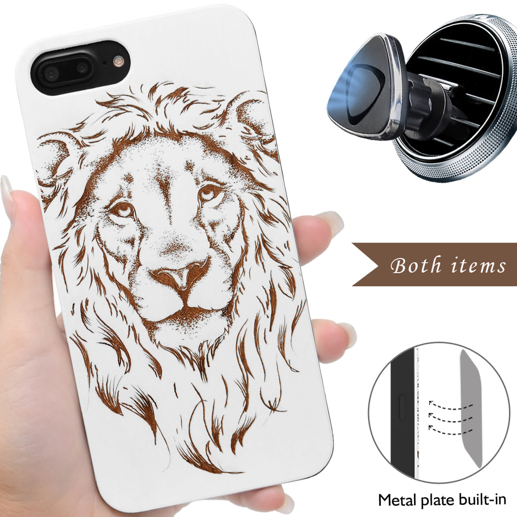 Lion Wooden iPhone Case
