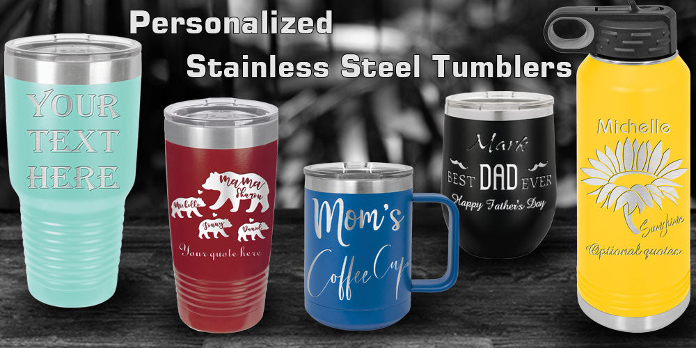 Personalized Tumblers in 30oz, 20oz, 32oz with your name text and designs, Polar Camel stainless steel Insulated Double Wall Thermos