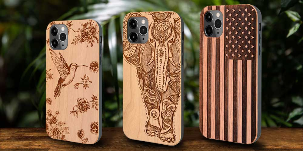 Protective wood phone case built-in metal plate with screen protector for iPhone and Samsung Galaxy