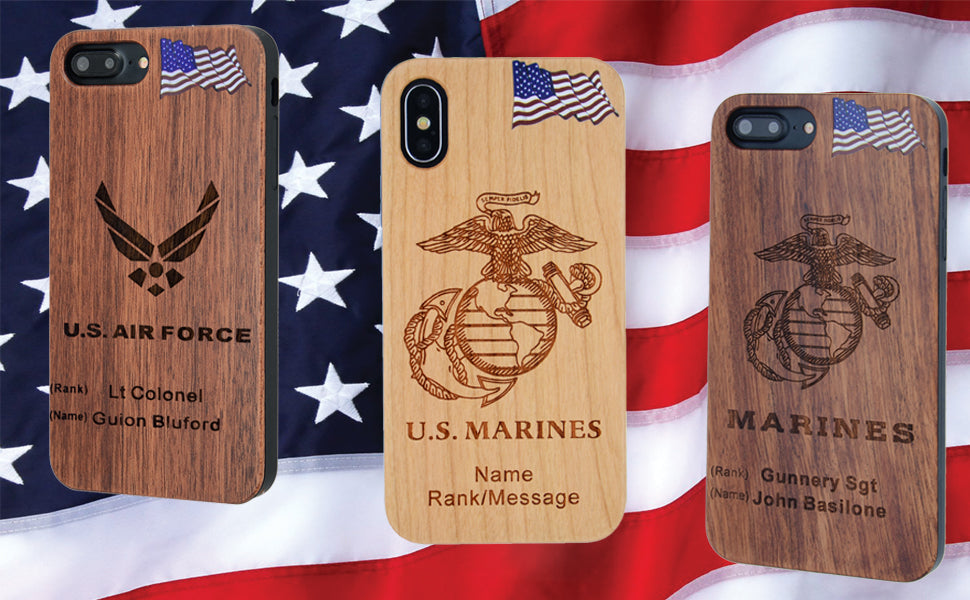 Military Wood Personalized Phone Cases
