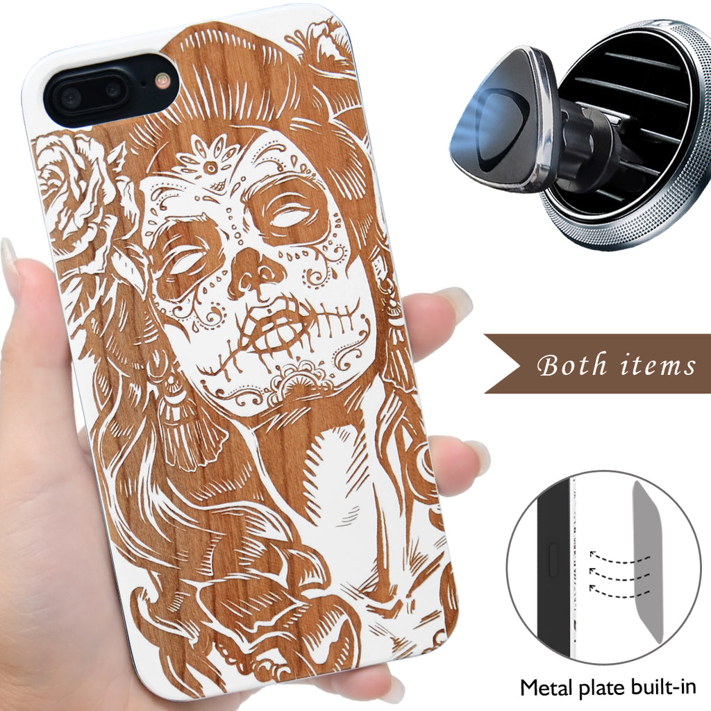 Skull Lady Wood Phone Case by iProducts US
