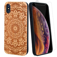 Mandala Flower Wood Case offers Screen Protector or Magnetic Car Mount - iProductsUS