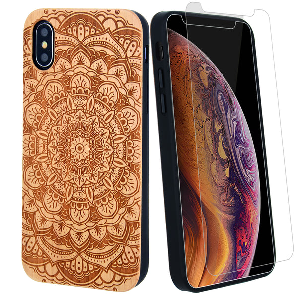 Mandala Flower Wood Case offers Screen Protector or Magnetic Car Mount