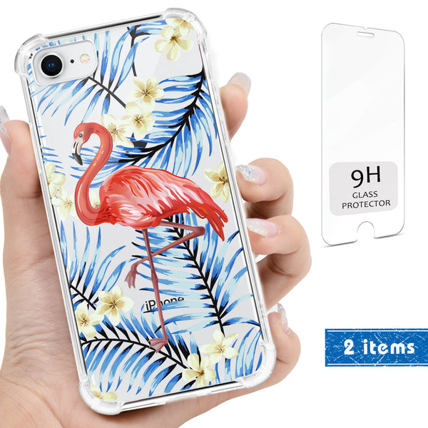 3D Flamingo Bird Floral Clear iPhone Case Includes 9H Glass Cover, Protective Case - iProductsUS